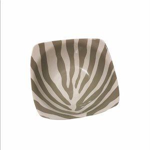 2 gray zebra print porcelain bowls